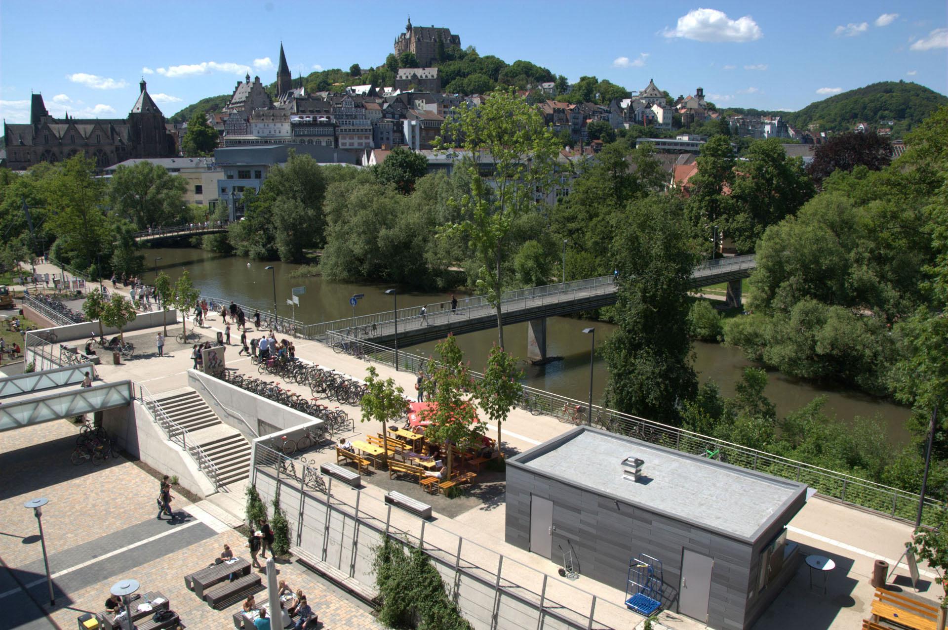 Marburg Mensaterrasse - Blick Richtung Oberstadt