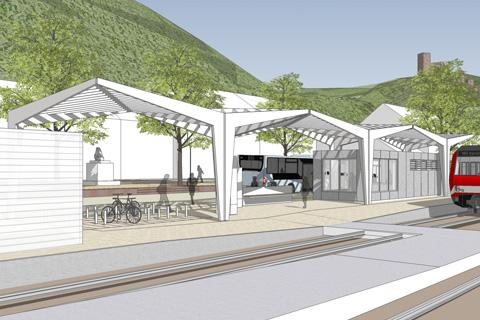 Stadtprozelten Bahnhof Visualisierung Blickrichtung Stadt
