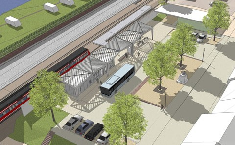 Stadtprozelten Bahnhof Visualisierung Vogelperspektive